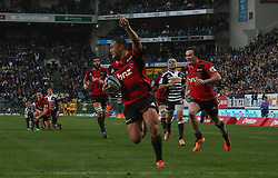 Crusaders centre Robert Fruean celebrates as he crosses the try line during the Super Rugby Semi-Final match between DHL Stormers and the Crusaders held at DHL Newlands Stadium in Cape Town, South Africa on 2 July 2011...Photo by Shaun Roy / Sportzpics.net