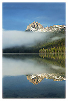 Mount Heyburn on a foggy morning at Redfish Lake, Sawtooth National Recreation Area Idaho