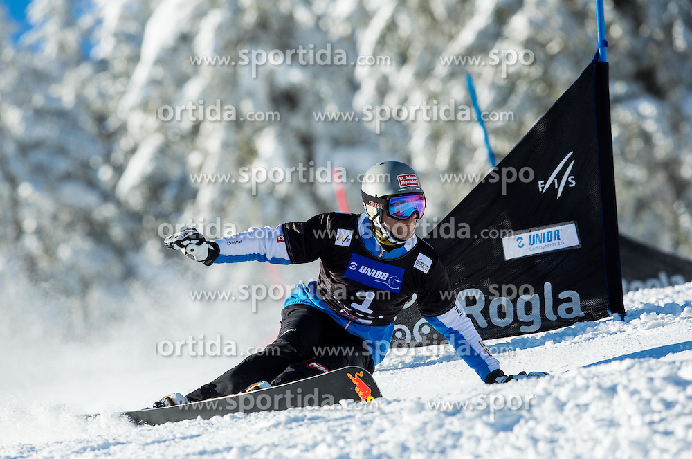 Anton Unterkofler of Austria competes during Qualification Run of Men's Parallel Giant Slalom at FIS Snowboard World Cup Rogla 2015, on January 31, 2015 in Course Jasa, Rogla, Slovenia. Photo by Vid Ponikvar / Sportida