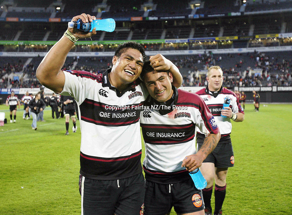 North Harbour captain Rua Tipoki,right, celebrates with No8 Nick Williams after winning the Ranfurly Shield in the match played at Jade Stadium in Christchurch on Sunday. North Harbour won the shield from Canterbury, beating them 21-17 for the first time in the history of the province, and after failing in 10 previous attempts.
