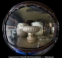 Silver Bowls at Wualaisilpa Shop on on Wualai Road in Chiang Mai, Thailand