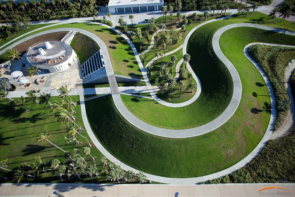 Aerial view of South Pointe Park, South Beach, Florida