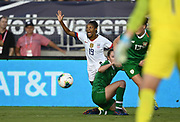 United States defender Crystal Dunn (19) gestures in an international friendly women's soccer match, Saturday, Aug. 3, 2019,  in Pasadena, Calif., The U.S. defeated Ireland 3-0. (Dylan Stewart/Image of Sport)