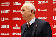 Middlesbrough Manager Tony Pulis at the post match press conference during the EFL Sky Bet Championship match between Middlesbrough and Derby County at the Riverside Stadium, Middlesbrough, England on 27 October 2018.