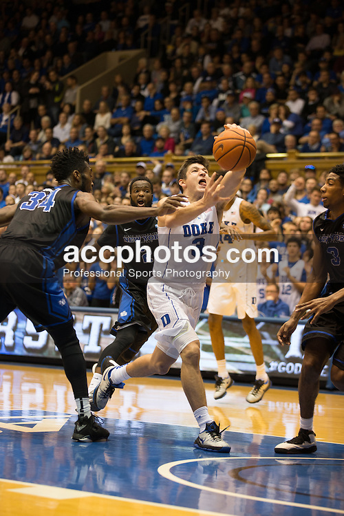DURHAM, NC - DECEMBER 05: Grayson Allen #3 of the Duke Blue Devils plays against the Buffalo Bulls during a 59-82 Duke Blue Devils win on December 05, 2015 at Cameron Indoor Stadium in Durham, North Carolina. (Photo by Peyton Williams/Getty Images) *** Local Caption *** Grayson Allen