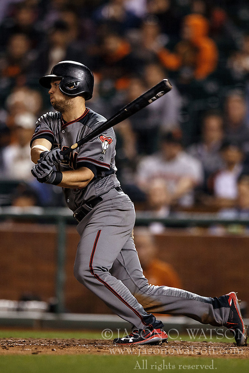 SAN FRANCISCO, CA - APRIL 18: Chris Owings #16 of the Arizona Diamondbacks at bat against the San Francisco Giants during the seventh inning at AT&T Park on April 18, 2016 in San Francisco, California. The Arizona Diamondbacks defeated the San Francisco Giants 9-7 in 11 innings.  (Photo by Jason O. Watson/Getty Images) *** Local Caption *** Chris Owings