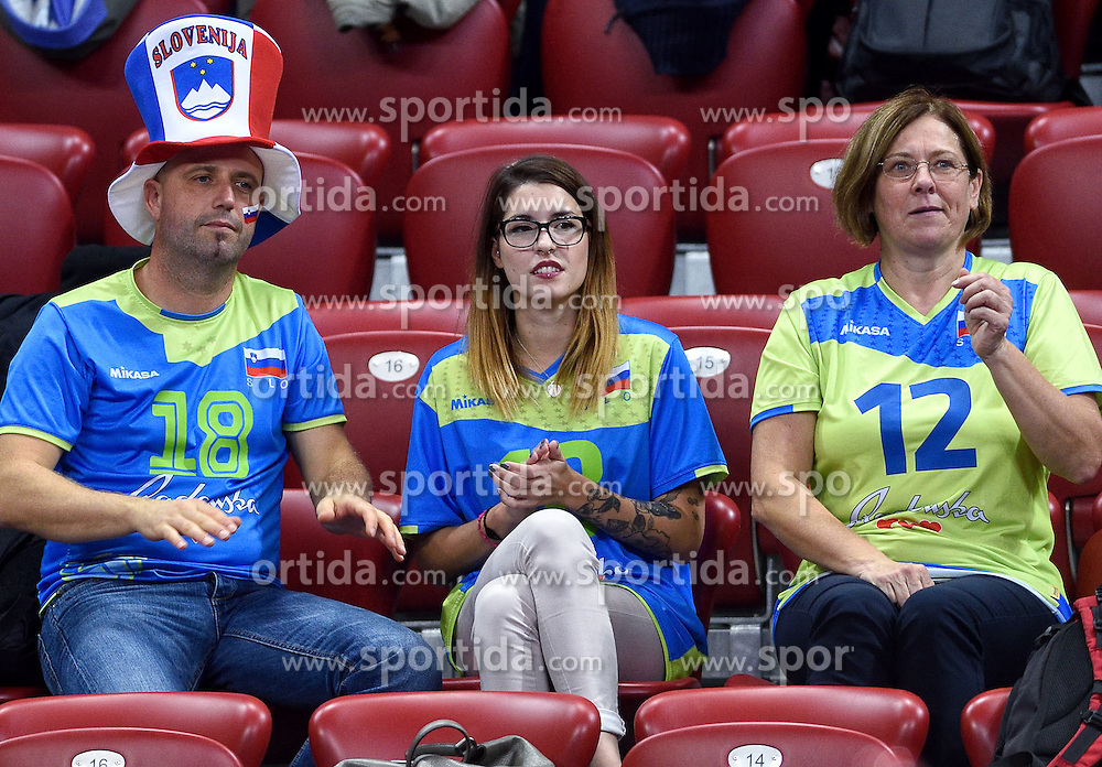 Supporters of Slovenia during volleyball match between National teams of Netherlands and Slovenia in Playoff of 2015 CEV Volleyball European Championship - Men, on October 13, 2015 in Arena Armeec, Sofia, Bulgaria. Photo by Ronald Hoogendoorn / Sportida