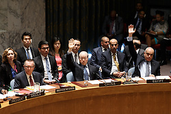 Liu Jieyi (C, front), China's permanent representative to the United Nations, votes on a resolution on the Democratic People's Republic of Korea (DPRK), at the UN headquarters in New York, the United States, March 2, 2016. The UN Security Council adopted a resolution on Wednesday to impose sanctions on the DPRK in order to curb the country's nuclear and missile programs. EXPA Pictures © 2016, PhotoCredit: EXPA/ Photoshot/ Li Muzi<br />