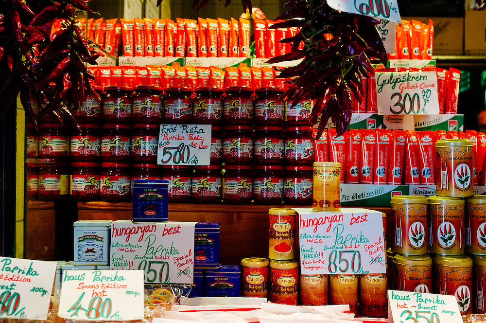 Paprika for sale in the Great Market Hall