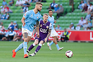 MELBOURNE, VIC - JANUARY 19: Melbourne City defender Bart Schenkeveld (5) passes the ball at the Hyundai A-League Round 14 soccer match between Melbourne City FC and Perth Glory at AAMI Park in VIC, Australia 19th January 2019. Image by (Speed Media/Icon Sportswire)