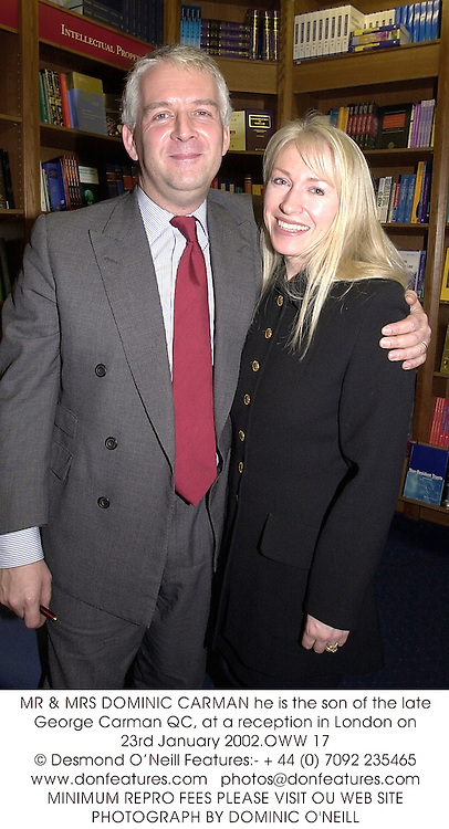 MR & MRS DOMINIC CARMAN he is the son of the late George Carman QC, at a reception in London on 23rd January 2002.	OWW 17