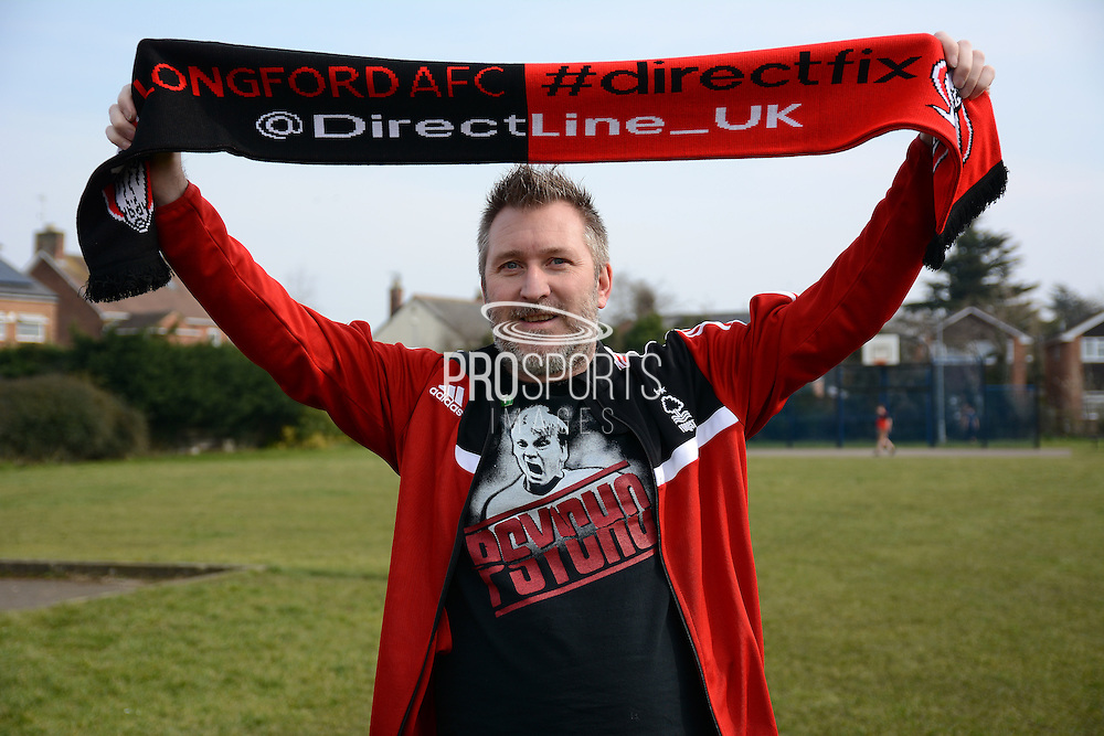 GLOUCESTERSHIRE, ENGLAND – MARCH 12: Stuart Pearce makes his debut for non-league Longford AFC as part of the #directfix campaign by Direct Line. Fan