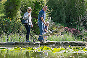 © Licensed to London News Pictures. 13/05/2015. Cliveden, UK. A heron flies past as people cross stepping stones int he Water Garden. Visitors to the National Trust property Cliveden House enjoy the warm and sunny weather today 13th May 2015. Photo credit : Stephen Simpson/LNP