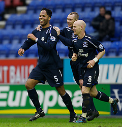 WIGAN, ENGLAND - Sunday, January 20, 2008: Everton's Joleon Lescott celebrates scoring the second goal against Wigan Athletic during the Premiership match at the JJB Stadium. (Photo by David Rawcliffe/Propaganda)