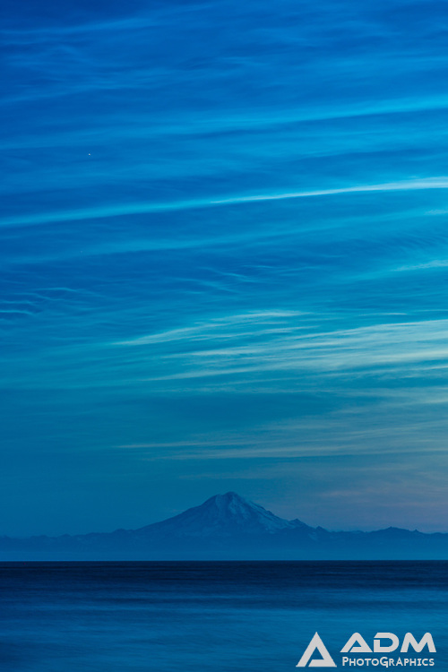 Noctilucent clouds over Cook Inlet and Mount Redoubt