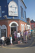 """Aldeburgh is notable for its traditional fish and chip shop. Owned and run by the Cooney family since the 1970s, it has been described in The Times as """"possibly the finest on the east coast"""". Others would claim that it is one of the best in Britain, a view given weight by the frequent long queue of customers waiting outside the shop."""