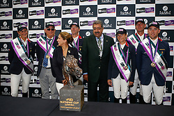 HRH Princess Haya (JOR), HRH Prince Faisal bin Abdullah bin Mohammed Al Saud with team France : Penelope Leprevost, chef d'equipe Philippe Guerdat, Patrice Delaveaux, Eugenie Angot, De Ponnat Aymeric, Delestre Simon<br /> Furusiyya FEI Nations Cup Jumping Final <br /> CSIO Barcelona 2013<br /> © Dirk Caremans
