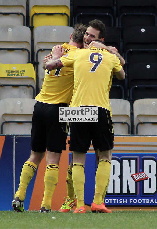 Anthony Andreu (facing camera) is congratulated by team mates after making it 2-0 Livingston. Livingston v Cowdenbeath, SFL Division 1, 16th February 2013 © Dave Taylor/Stockpix.eu