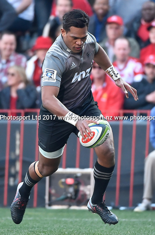 Lions v Crusaders. Seta Tamanivalu of the Crusaders scores the first try of the 2017 finals during the 2017 Super Rugby Final match at Ellis Park, Johannesburg, 05 August 2017. <br /> <br /> &copy; Anton de Villiers / www.photosport.nz / www.photosport.nz