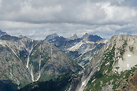 Rugged terrain of North Cascades National Park, looking north from Red Face Mountain