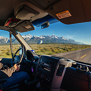 Dawson driving a Teton Science School wildlife tour through Grand Teton National Park, Wyoming.