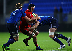Giorgi Nemsadze of Bristol United is tackled by Josh Murphy and Peadar Timmins of Leinster - Mandatory by-line: Ken Sutton/JMP - 15/12/2017 - RUGBY - Donnybrook Stadium - Dublin,  - Leinster 'A' v Bristol United -