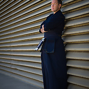 Nick Harrison poses as a martial arts master at the San Diego Convention Center. Photography for a magazine editorial by Dallas corporate photographer William Morton of Morton Visuals.