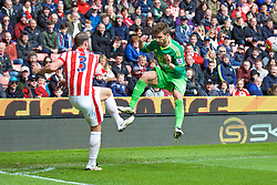 STOKE-ON-TRENT, ENGLAND - Saturday, April 30, 2016: Sunderland's Fabio Borini and Stoke City's Erik Pieters during the FA Premier League match at the Britannia Stadium. (Pic by David Rawcliffe/Propaganda)
