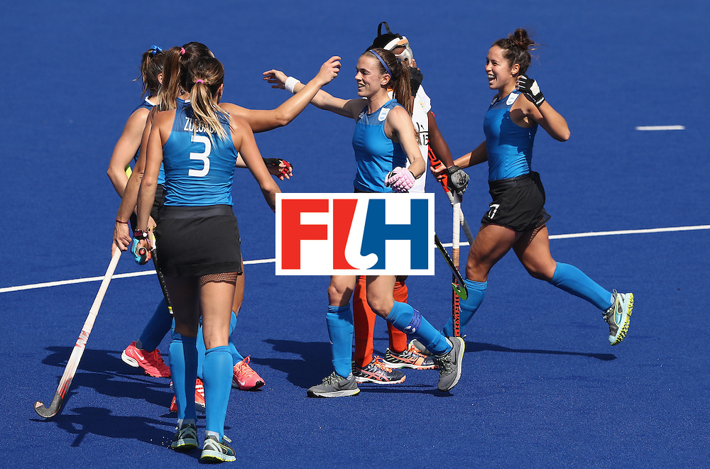 RIO DE JANEIRO, BRAZIL - AUGUST 13:  Carla Rebecchi of Argentina celebrates after scoring a goal during the Women's pool B hockey match between Argentina and India on Day 8 of the Rio 2016 Olympic Games at the Olympic Hockey Centre on August 13, 2016 in Rio de Janeiro, Brazil.  (Photo by David Rogers/Getty Images)