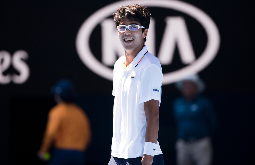 Hyeon Chung of South Korea on day ten of the 2018 Australian Open in Melbourne Australia on Wednesday January 24, 2018.<br /> (Ben Solomon/Tennis Australia)
