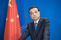 09 JUL 2018, BERLIN/GERMANY:<br /> Li Keqiang, Ministerpraesident der VR China, waehrend einer Pressekonferenz zu den Ergebnissen der Deutsch-Chinesische Regierungskonsultationen, Bundeskanzleramt<br /> IMAGE: 20180709-02-074