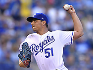 April 13, 2017 - Kansas City, MO, USA - Kansas City Royals starting pitcher Jason Vargas throws in the first inning against the Oakland Athletics at Kauffman Stadium in Kansas City, Mo., on Thursday, April 13, 2017. (Credit Image: © John Sleezer/TNS via ZUMA Wire)