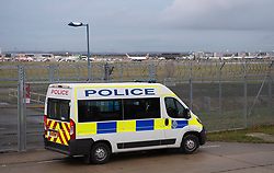 © Licensed to London News Pictures. 20/12/2018. Gatwick, UK. Police at Perimeter, Drone has closed Gatwick airport with all flights in and out cancelled while police hunt for drone pilot deliberately targeting airport.Photo credit: Grant Falvey/LNP