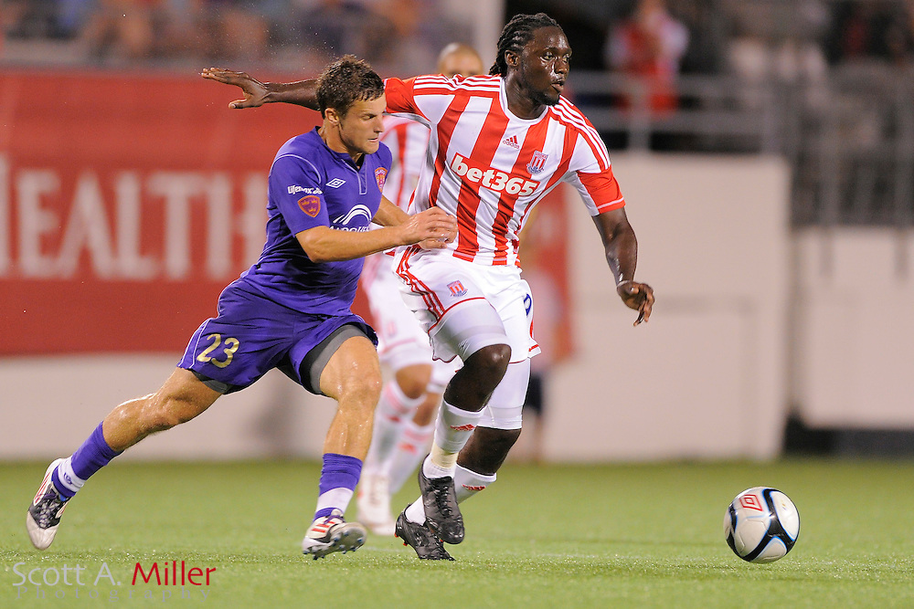 Stoke City Potters forward Kenwyne Jones (9) during the Potters game against the Orlando City Lions at the Florida Citrus Bowl on July 28, 2012 in Orlando, Florida. Stoke won 1-0...© 2012 Scott A. Miller.