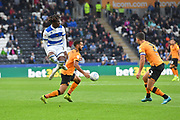 Hull City player Kevin Stewart (6) gets ball away from Queens Park Rangers player Eberechi Eze (10) during the EFL Sky Bet Championship match between Hull City and Queens Park Rangers at the KCOM Stadium, Kingston upon Hull, England on 19 October 2019.
