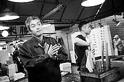Tuna wholesaler Katsuhiki Kashima and Hideto Takeda at the Tsukiji Market, Tokyo, Japan