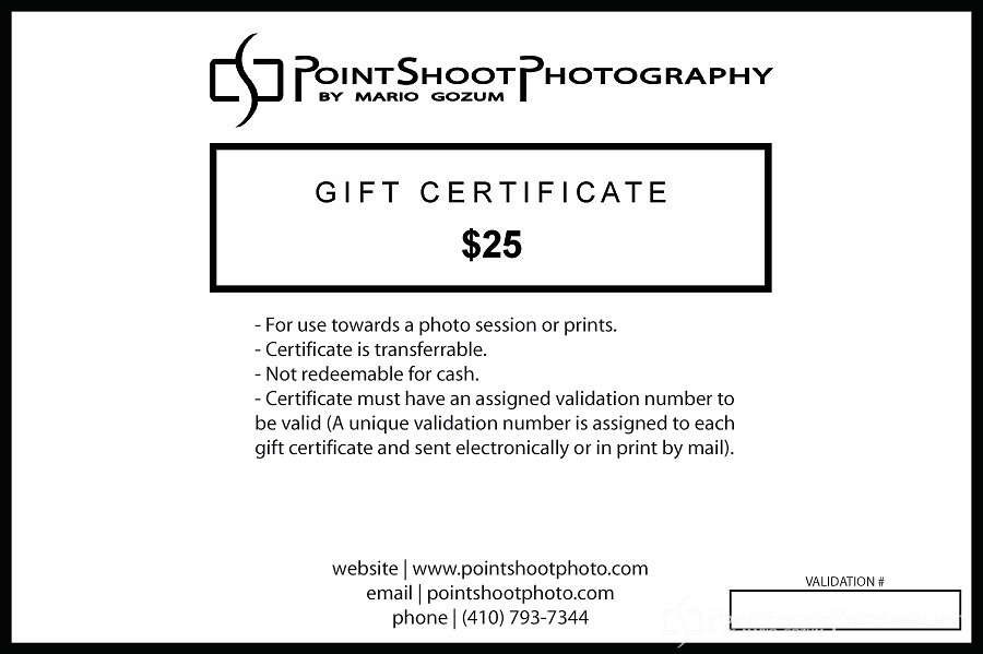 PointShoot Photography $25 gift certificate for use towards sessions or prints.