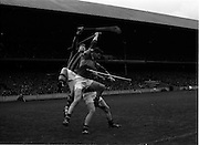 17/10/1965<br /> 10/17/1965<br /> 17 October 1965<br /> Oireachtas Final: Kilkenny v Tipperary at Croke Park, Dublin.<br /> Kilkenny goalie (left), O. Walsh, and Tipperary forward, McLoughlin, both miss the high ball. It was later cleared by Kilkenny.