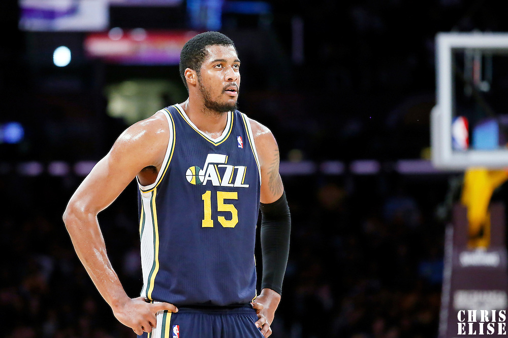11 February 2014: Utah Jazz center Derrick Favors (15) rests during the Utah Jazz 96-79 victory over the Los Angeles Lakers at the Staples Center, Los Angeles, California, USA.