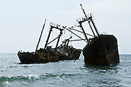 Old ships in Panguila beach, Angola