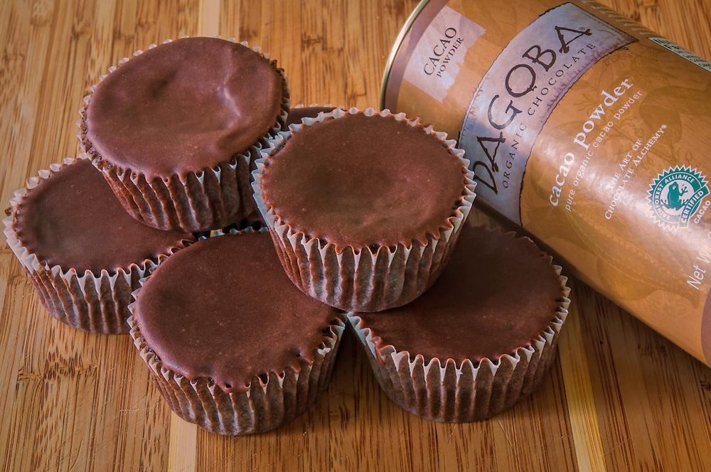 Dagoba Chocolate Cupcakes Stacked