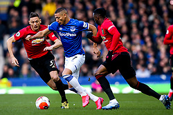 Richarlison of Everton takes on Aaron Wan-Bissaka and Nemanja Matic of Manchester United - Mandatory by-line: Robbie Stephenson/JMP - 01/03/2020 - FOOTBALL - Goodison Park - Liverpool, England - Everton v Manchester United - Premier League