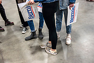 "Supporters wait before the ""Super Tuesday"" rally for US Senator and 2020 Democratic presidential candidate, Bernie Sanders, in Essex Junction, VT, March 3, 2020. Photographer: Kate Flock"