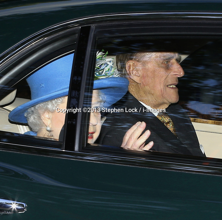 Her Majesty the Queen with Prince Philip leaving after Prince George's christening at St.James's Palace in London, United Kingdom,  Wednesday, 23rd October 2013. Picture by Stephen Lock / i-Images