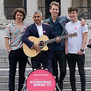 London,England,UK, 22th July 2016 : The Vamps join the Mayor of London Sadiq Khan Launch of International Busking Day '#LondonIsOpen' in Trafalgar Square, London, UK. Photo by See Li