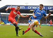 Leyton Orient Midfielder Sammy Moore and Portsmouth defender Matt Clarke during the Sky Bet League 2 match between Portsmouth and Leyton Orient at Fratton Park, Portsmouth, England on 6 February 2016. Photo by Adam Rivers.