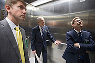 Sen. Chuck Grassley (center) rides the elevator with Ted Lehman (left), Chief Counsel for Nominations and Senior Counsel for the Senate Committee on the Judiciary, and Kolan Davis (right), Judiciary Committee Staff Director, as they head to a hearing in the Senate Judiciary Committee for Neil Gorsuch to become an Associate Justice of the United States Supreme Court in the Hart Senate Office Building in Washington, D.C. on Monday, Mar. 20, 2017.