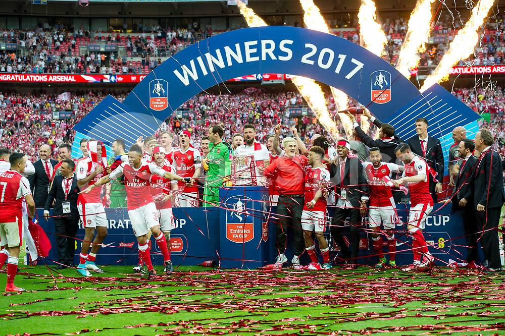 Arsenal lift the FA Cup Trophy during the Emirates FA Cup Final between Arsenal and Chelsea at Wembley Stadium, London, England on the 27th May 2017. Photo by Salvio Calabrese.