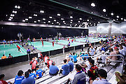 General view on South Hall Convention Centre while badminton competition during seventh day of the Special Olympics World Games Los Angeles 2015 on July 31, 2015 at South Hall of Convention Centre  in Los Angeles, USA.<br /> <br /> USA, Los Angeles, July 31, 2015<br /> <br /> Picture also available in RAW (NEF) or TIFF format on special request.<br /> <br /> For editorial use only. Any commercial or promotional use requires permission.<br /> <br /> Adam Nurkiewicz declares that he has no rights to the image of people at the photographs of his authorship.<br /> <br /> Mandatory credit:<br /> Photo by &copy; Adam Nurkiewicz / Mediasport