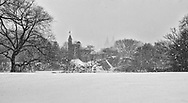Belvedere Castle in Central Park, during a blizzard